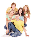 Group of young people on white. Royalty Free Stock Images