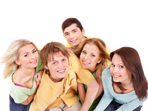Group of young people on white. Royalty Free Stock Photos