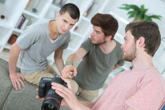 Group young photography students stock image