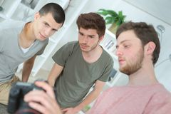 Group young photography students stock photography