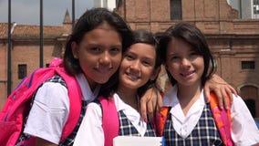 Pretty Girl Students Posing Wearing School Uniforms stock photo
