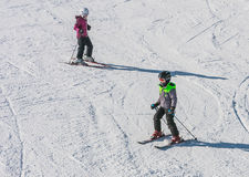 Group of young skiers. At a ski resort Royalty Free Stock Image