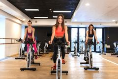 Group of young slim women workout on exercise bike in gym. Sport and wellness lifestyle concept.  stock images