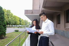 Group of young smart business asian professionals, international Royalty Free Stock Photos