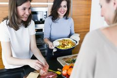 Young women preparing healthy food in the kitchen. Group of young smiling women cooking food in the kitchen stock photos