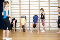 Group of young sports woman does an extension exercise at the Swedish wall Royalty Free Stock Photo