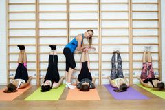 Group of young sports woman does an extension exercise at the Swedish wall Stock Images