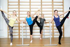 Group of young sports woman does an extension exercise. Group of young sports women does an extension exercise Royalty Free Stock Photography
