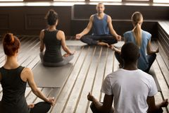 Group of young sporty people sitting in Sukhasana exercise royalty free stock photo