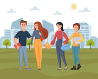 Group of young students holding bags and books in city park. City landscape on background with buildings shapes, trees royalty free illustration