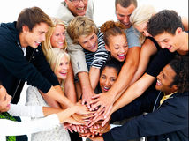 Group of young students showing teamwork - Unity Royalty Free Stock Photo