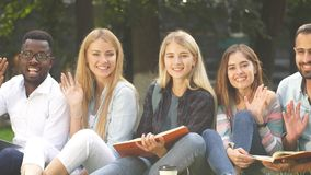 Group of young students sitting together on green lawn high school university campus stock footage