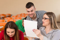 Group Of Young Students Study One Is Cheating Royalty Free Stock Image