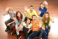 A group of young teenagers hanging out together Stock Images