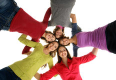 A group of young teenagers holding together Stock Image