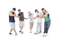 Group of young teenagers posing over white Royalty Free Stock Photos