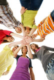 A group of young teenages holding hands together Stock Photos