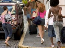 Group of young Tourist. Five foxy ladys touring in San Juan Royalty Free Stock Image