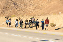 Group of young tourists in the Israel Negv Desert Stock Image
