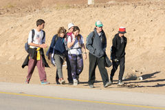 Group of young tourists in the Israel Negv Desert Royalty Free Stock Images