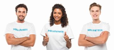 Group of young volunteers. Isolated on white stock photos