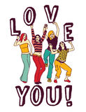 Group young woman love sign color Stock Photo