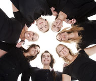 Group of Young Women. From low angle view stock photos