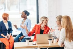 Group of young women discussing creative project during work process royalty free stock image