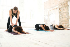 Group of young women doing stretching stock images