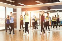 Group of young women in the fitness class stock image