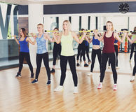 Group of young women in the fitness class Stock Images