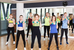 Group of young women in the fitness club Royalty Free Stock Photo