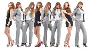 Group young women over white Royalty Free Stock Photos