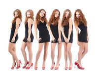 Group young women over white Stock Images