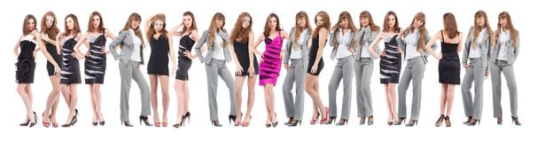 Group young women over white Royalty Free Stock Photography