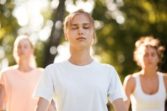 Group of young women practicing yoga, morning meditation in nature at the park royalty free stock image