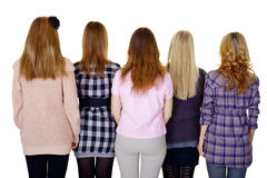 Group of young women - rear view isolated on white stock photography