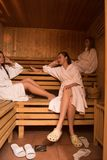 A group of young women in a sauna stock photos