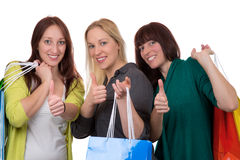 Group of young women with shopping bags Stock Photo