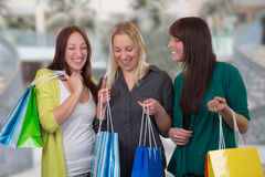Group of young women shopping in a store Royalty Free Stock Photography