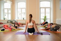 Group young women stretching and practices yoga Stock Images