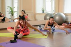 Group young women stretching and practices yoga Royalty Free Stock Photo