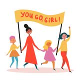 Group of young women with you go, girl streamer stock illustration