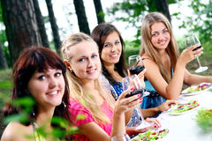Group of young womens drinking wine Royalty Free Stock Photo