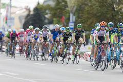 Group of Youth Road Cyclists in Professional Peloton During International Road Cycling Competition Grand Prix Minsk-2017 Stock Image