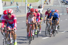 Group of Youth Road Cyclists in Professional Peloton During International Road Cycling Competition Grand Prix Minsk-2017 Royalty Free Stock Images