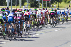 Group of Youth Road Cyclists in Professional Peloton During International Road Cycling Competition Grand Prix Minsk-2017 Royalty Free Stock Photo