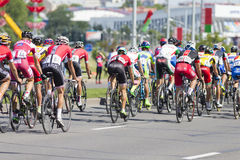 Group of Youth Road Cyclists in Professional Peloton During International Road Cycling Competition Grand Prix Minsk-2017 Royalty Free Stock Image