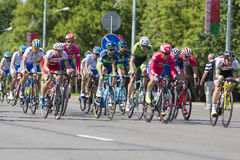 Group of Youth Road Cyclists in Professional Peloton During International Road Cycling Competition Grand Prix Minsk-2017 Royalty Free Stock Photos
