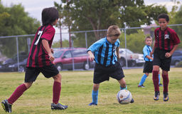 A Group of Youth Soccer Players Compete Stock Photo
